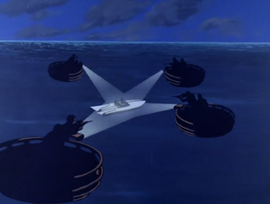 Pirates surround Dr. Quest and Hadji