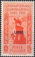 Italy (Aegean Islands)-Lipso 1932 50th Anniversary of the Death of Giuseppe Garibaldi i