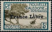 "New Caledonia 1941 Definitives of 1928 Overprinted in black ""France Libre"" e"
