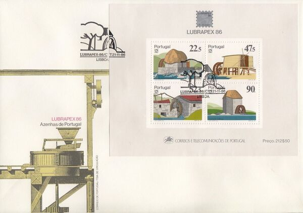 Portugal 1986 LUBRAPEX - Watermills FDCb