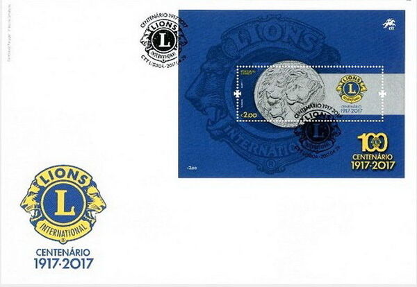 Portugal 2017 100 Years of Service of Lions Clubs International FDCb