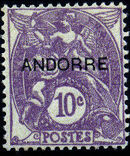 "Andorra-French 1931 Type ""Blanc"" of France Overprinted ""ANDORRE"" e"