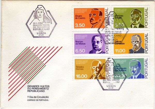 Portugal 1980 Famous Thinkers of the Republican Movement (2nd Group) FDCa