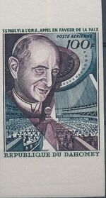 Dahomey 1966 Pope Paul VI and UN General Assembly f