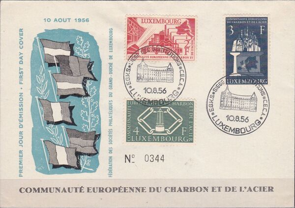 Luxembourg 1956 4th Anniversary of the Establishment in Luxembourg of the Headquarters of the European Coal and Steel Community FDCc