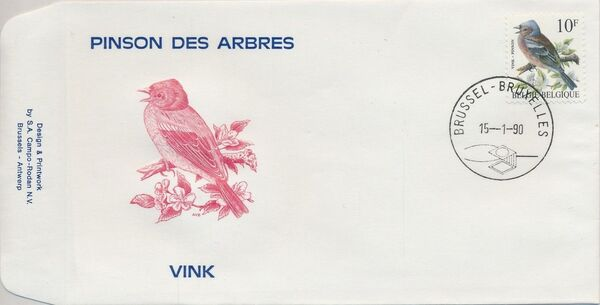 Belgium 1990 Birds (B) FDCa