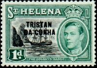 Tristan da Cunha 1952 Stamps of St. Helena Overprinted b