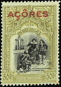 Azores 1926 1st Independence Issue Overprinted k