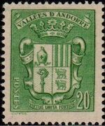 Andorra-French 1937 Coat of arms of Andorra e