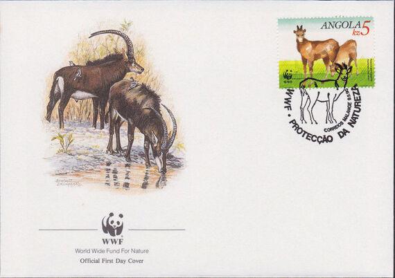 Angola 1990 WWF - Giant Sable Antelope FDCd