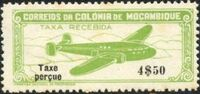 """Mozambique 1947 Airplane over Mountainous Region with """"Taxe Perçue"""" d"""
