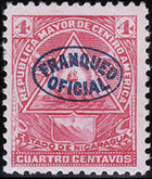 Nicaragua 1898 Official Stamps Overprinted in Blue c
