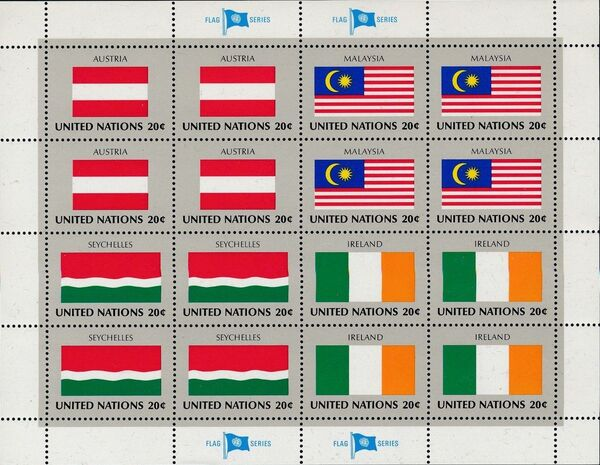 United Nations-New York 1982 Flags of Member Nations (3rd Group) Sheeta