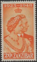 Zanzibar 1949 Silver Wedding of King George VI & Queen Elizabeth a
