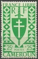 Cameroon 1941 Lorraine Cross and Joan of Arc Shield b