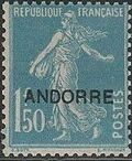 "Andorra-French 1931 Type ""Semeuse"" of France Overprinted ""ANDORRE"" l"