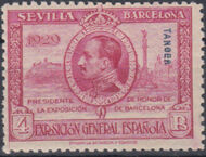 Tangier-Spain 1929 Seville-Barcelona Issue of Spain Overprinted in Blue or Red j