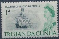 Tristan da Cunha 1965 Queen Elizabeth II and Ships b