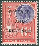 Malta 1928 George V and Coat of Arms Ovpt POSTAGE AND REVENUE l