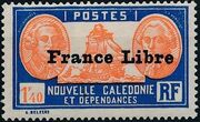 "New Caledonia 1941 Definitives of 1928 Overprinted in black ""France Libre"" y"