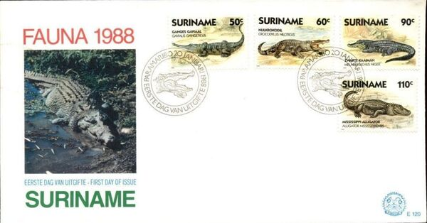 Surinam 1988 Alligators and Crocodiles FDCa