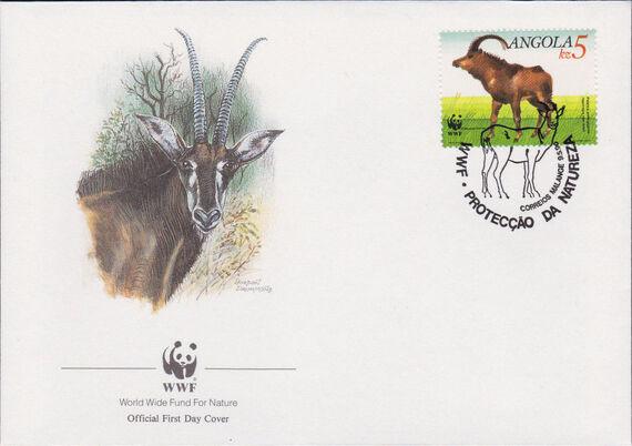 Angola 1990 WWF - Giant Sable Antelope FDCa