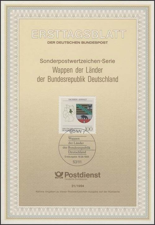 Germany, Federal Republic 1994 Coat of Arms of the Federal States of Germany (3rd Group) IOP-ETBc