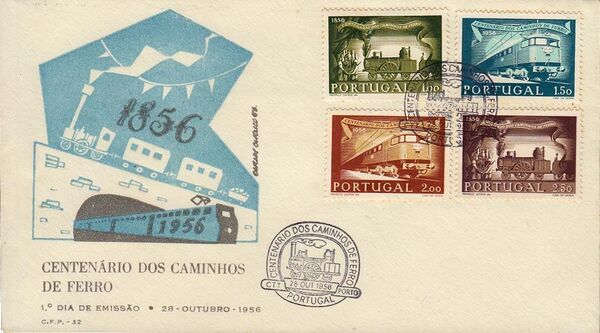 Portugal 1956 Centenary of Portuguese Railways FDCb