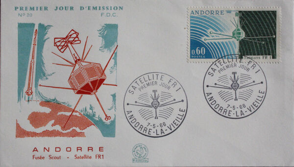 Andorra-French 1966 Launch of the French Satellite FR 1 FDCa