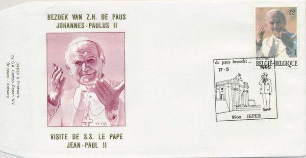 Belgium 1985 Visit of Pope John Paul II FDCn