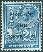 Malta 1928 George V and Coat of Arms Ovpt POSTAGE AND REVENUE h