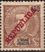 St Thomas and Prince 1911 D. Carlos I Overprinted k