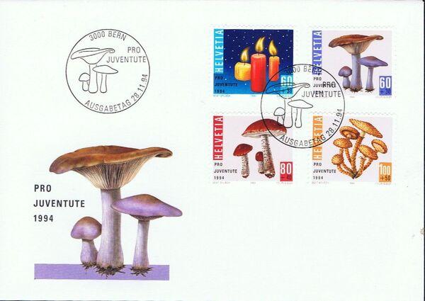 Switzerland 1994 PRO JUVENTUTE - Christmas Candles and Mushrooms FDCa