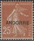 "Andorra-French 1931 Type ""Semeuse"" of France Overprinted ""ANDORRE"" c"