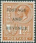 Malta 1928 George V and Coat of Arms Ovpt POSTAGE AND REVENUE e