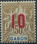 Gabon 1912 Navigation and Commerce Surcharged i