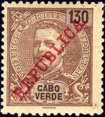 Cape Verde 1911 D. Carlos I Overprinted k