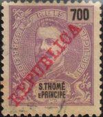 St Thomas and Prince 1911 D. Carlos I Overprinted o