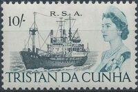 Tristan da Cunha 1967 Queen Elizabeth II and Ships b