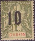Gabon 1912 Navigation and Commerce Surcharged k