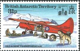 British Antarctic Territory 1994 Old and New Transportation Ovpt. Hong Kong '94 Emblem c