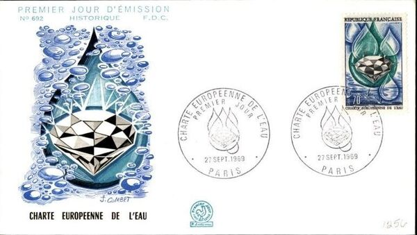 France 1969 European Water Charter FDCa