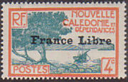 "New Caledonia 1941 Definitives of 1928 Overprinted in black ""France Libre"" d"