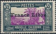 "New Caledonia 1941 Definitives of 1928 Overprinted in black ""France Libre"" k"