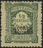 Azores 1923 Postage Due Stamps of Portugal Overprinted (2nd Group) e
