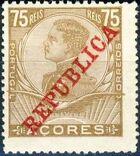 Azores 1911 D. Manuel II Overprinted REPUBLICA h