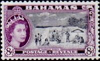 Bahamas 1954 Queen Elisabeth II and Landscapes Issue i
