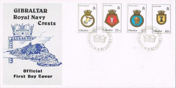 Gibraltar 1982 Royal Navy Crests 1st Group FDCa