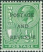 Malta 1928 George V and Coat of Arms Ovpt POSTAGE AND REVENUE b