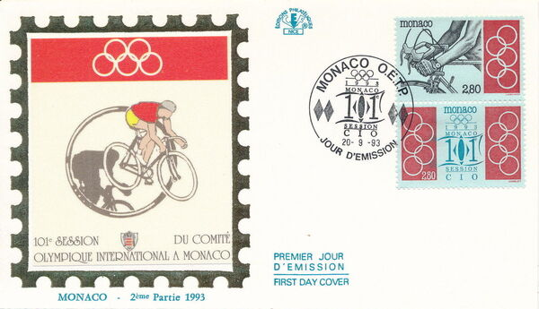 Monaco 1993 101st Session International Olympic Committee FDCd